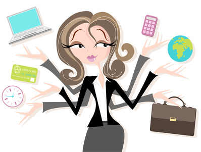 Business woman juggling tasks