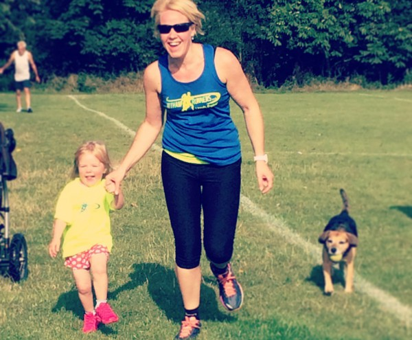 Michelle with her daughter - and the dog!